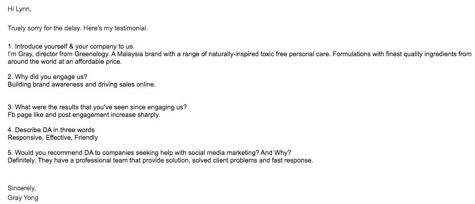 digital marketing agency KL - Clients testimonial